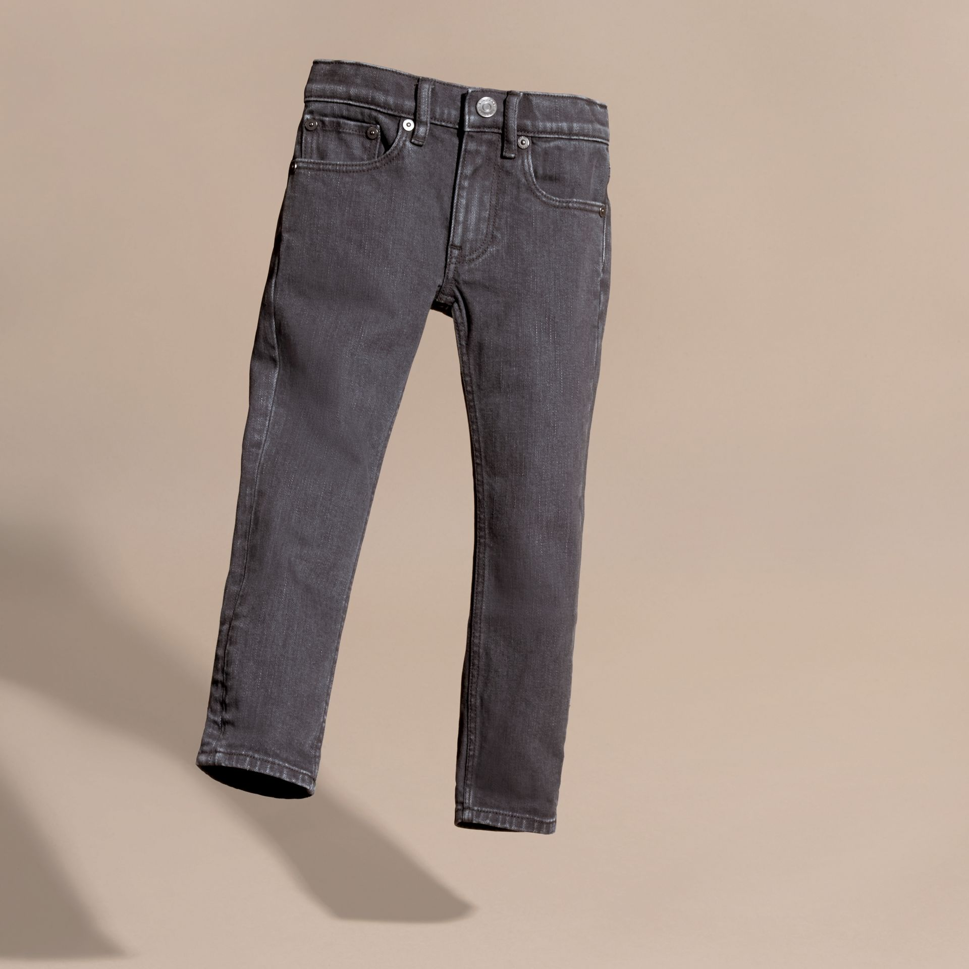 Skinny Fit Stretch Denim Jeans in Charcoal - Boy | Burberry - gallery image 3