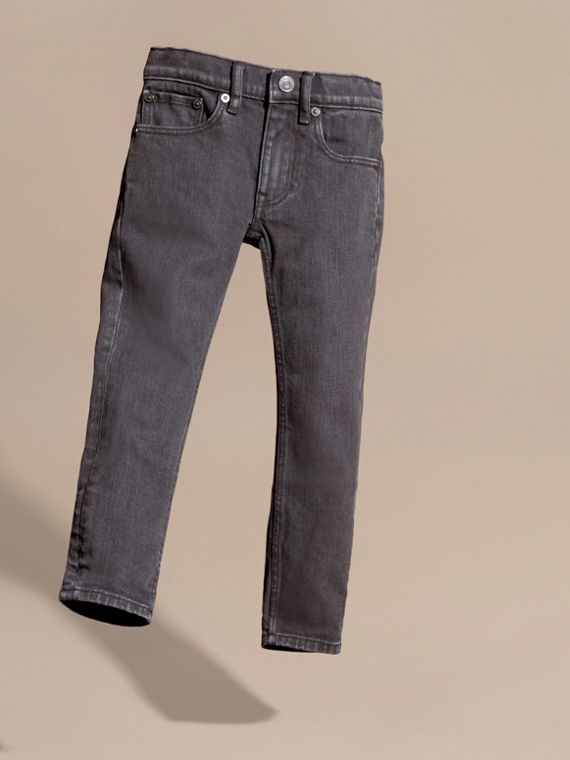 Skinny Fit Stretch Denim Jeans in Charcoal - Boy | Burberry - cell image 2