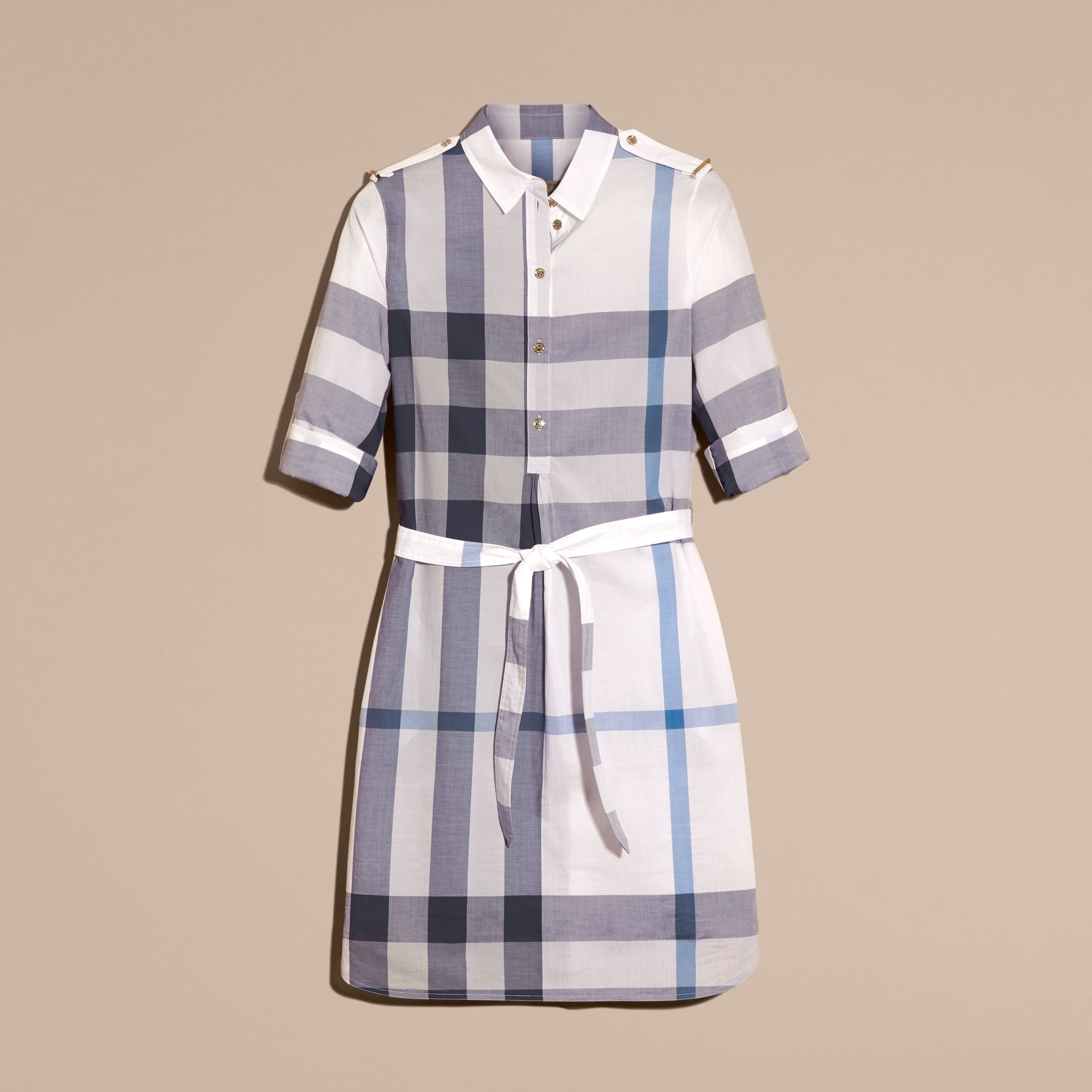 Ink blue Check Cotton Shirt Dress Ink Blue - gallery image 4