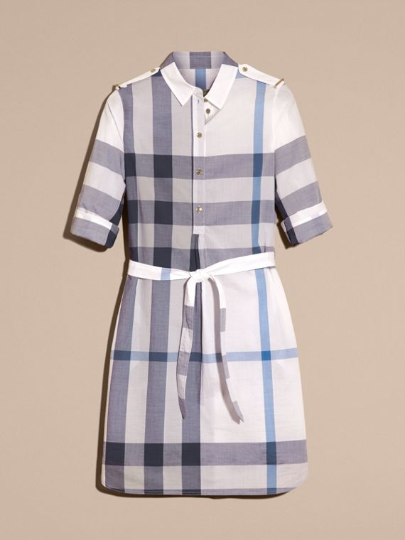 Ink blue Check Cotton Shirt Dress Ink Blue - cell image 3