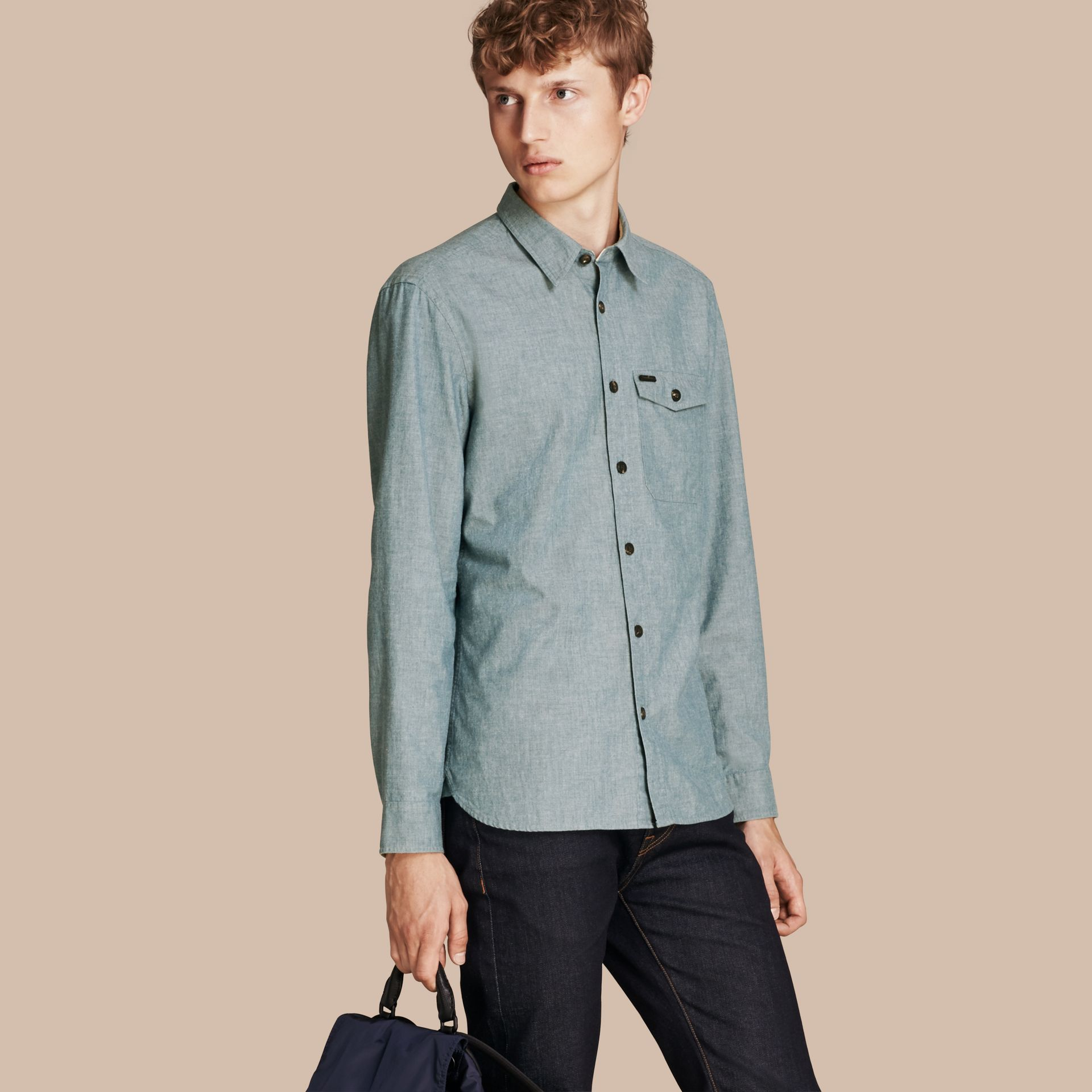 Mineral blue Chambray Cotton Shirt - gallery image 1