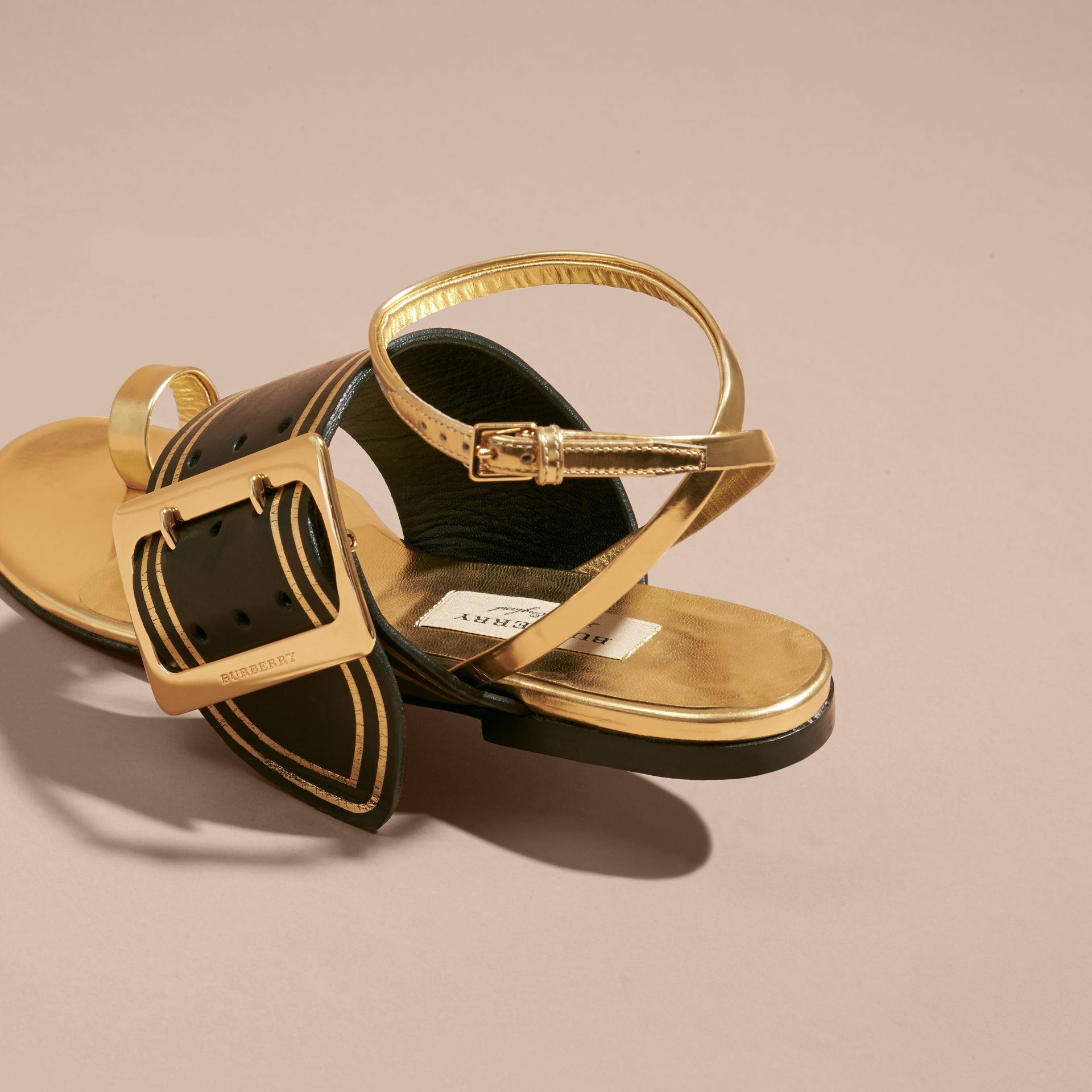 Antique gold Two-tone Leather Sandals with Buckles - gallery image 4