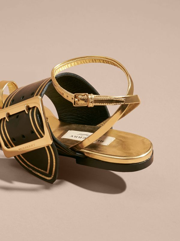 Two-tone Leather Sandals with Buckles in Antique Gold | Burberry United States - cell image 3