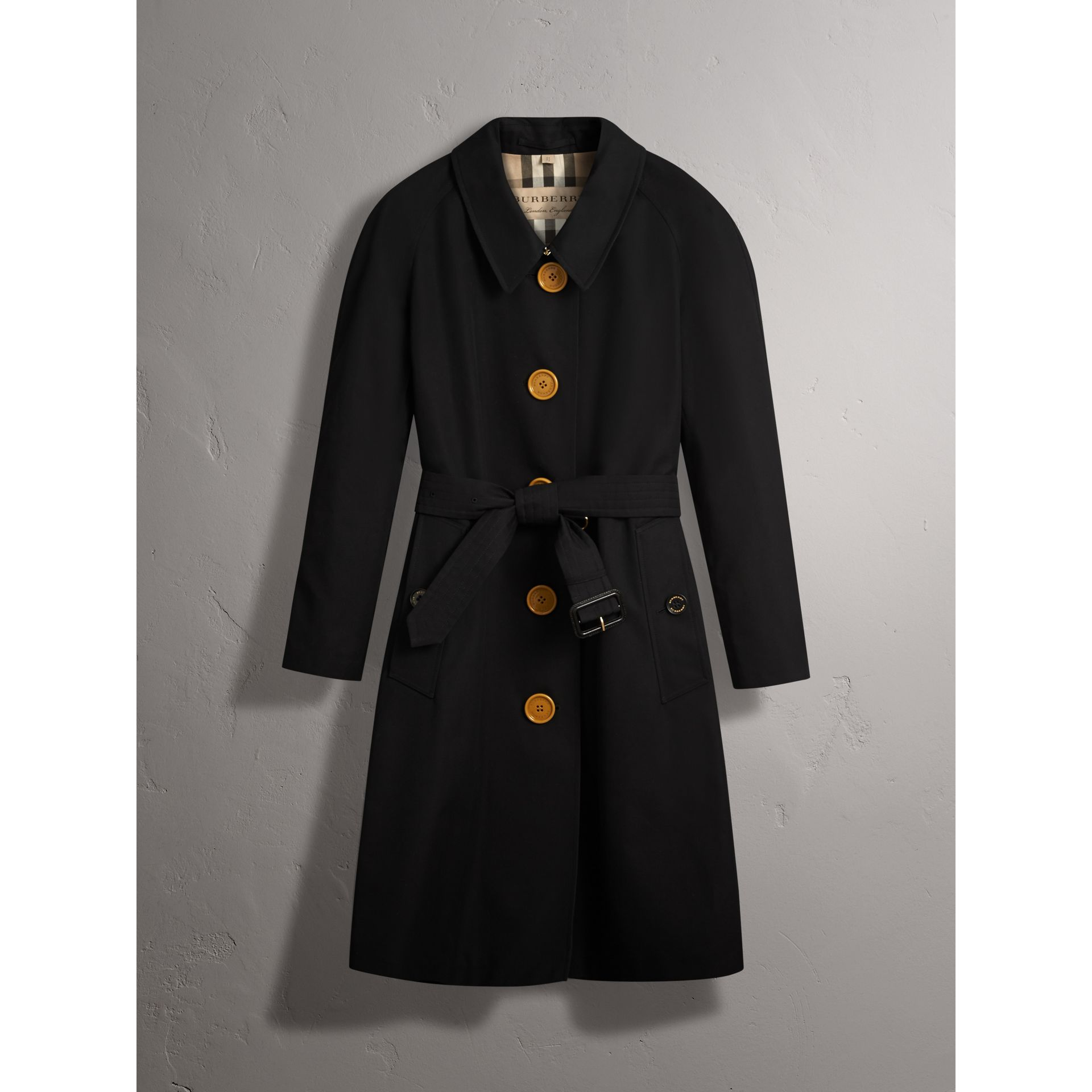Resin Button Cotton Gabardine Trench Coat in Black - Women | Burberry - gallery image 3