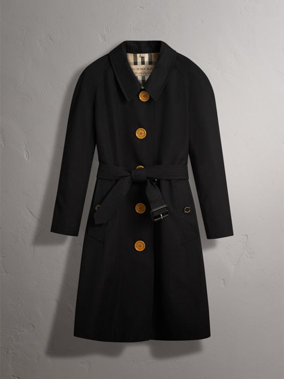 Resin Button Cotton Gabardine Trench Coat in Black - Women | Burberry - cell image 3