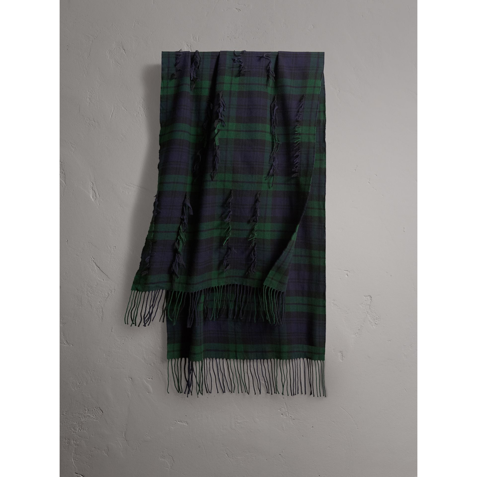 Fil Coupé Tartan Wool Cashmere Scarf in Bright Navy | Burberry - gallery image 0