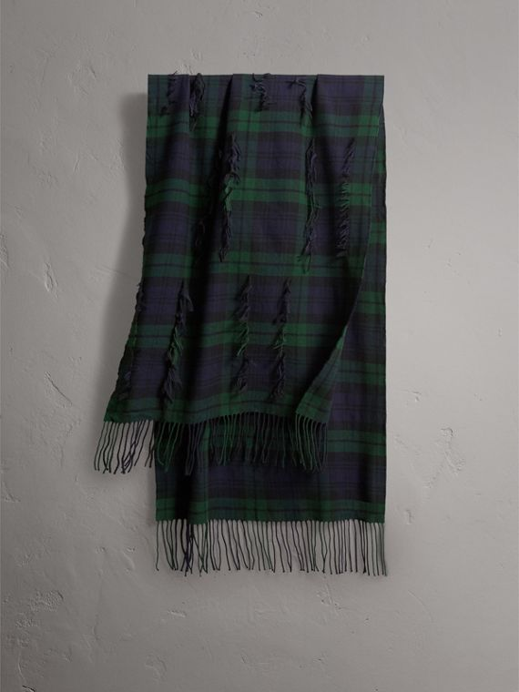 Fil Coupé Tartan Wool Cashmere Scarf in Bright Navy