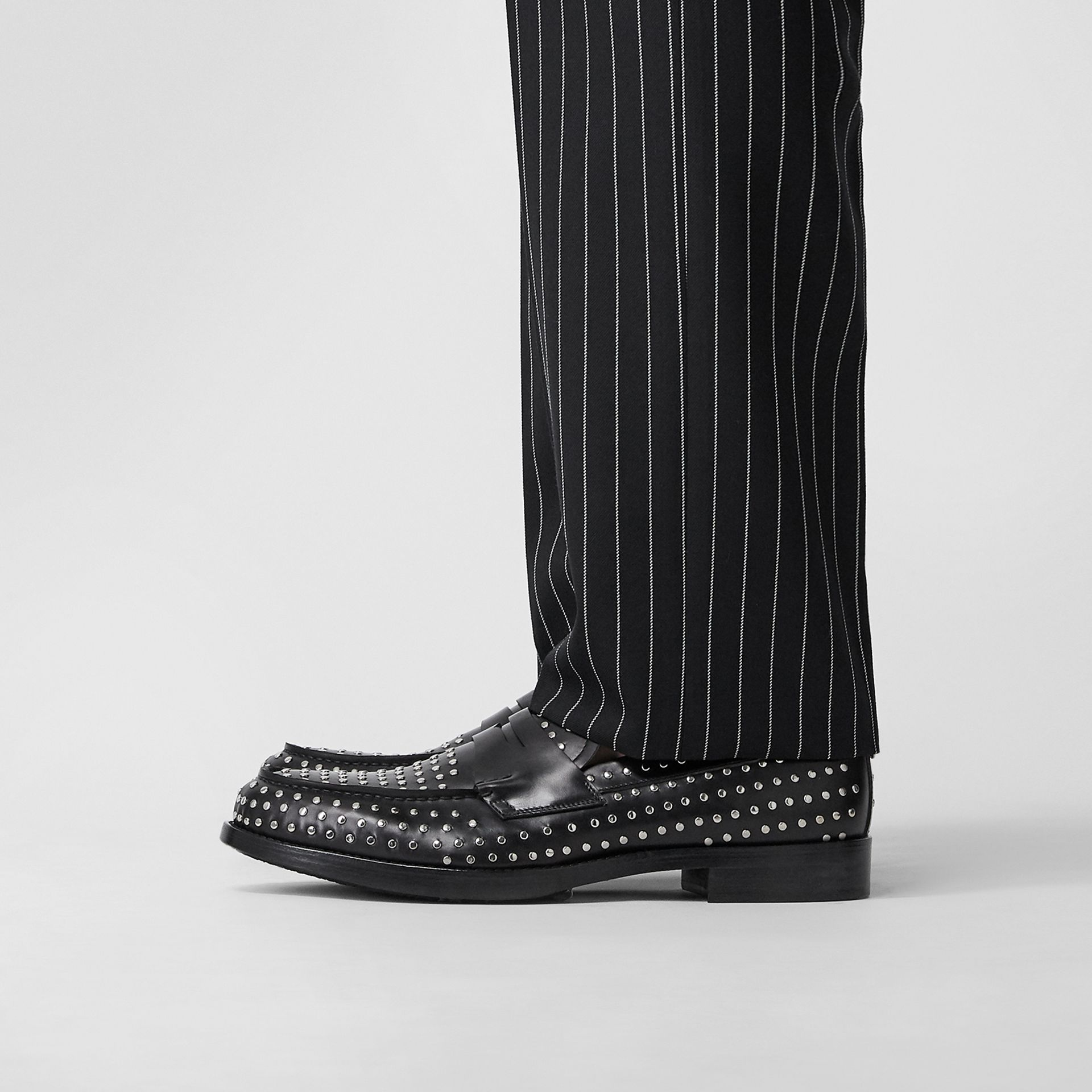 D-ring Detail Studded Leather Loafers in Black - Men | Burberry United Kingdom - gallery image 2