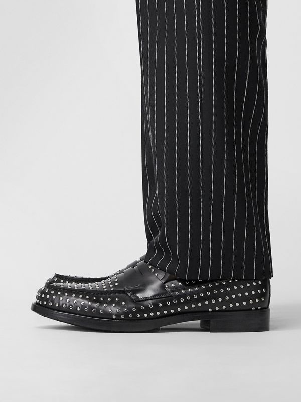D-ring Detail Studded Leather Loafers in Black - Men | Burberry United Kingdom - cell image 2