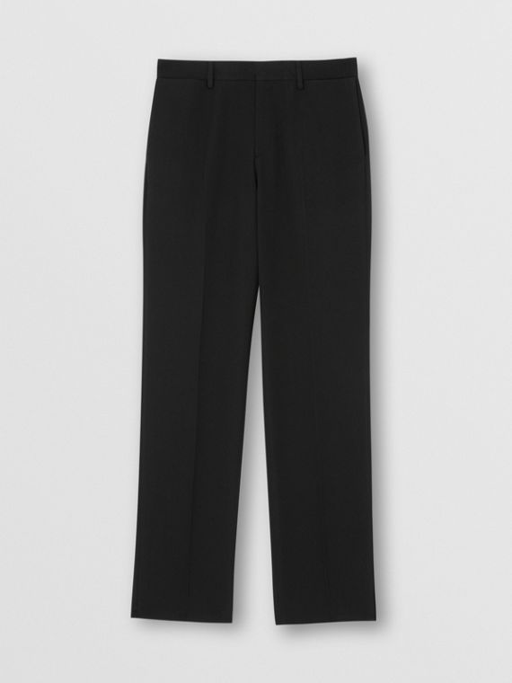 English Fit Pocket Detail Wool Tailored Trousers in Black