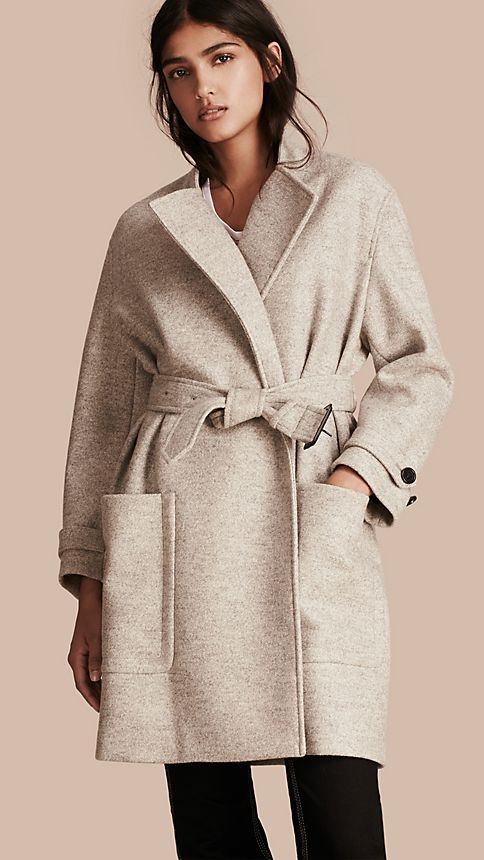 Pale grey melange Wool Belted Wrap Coat - Image 2