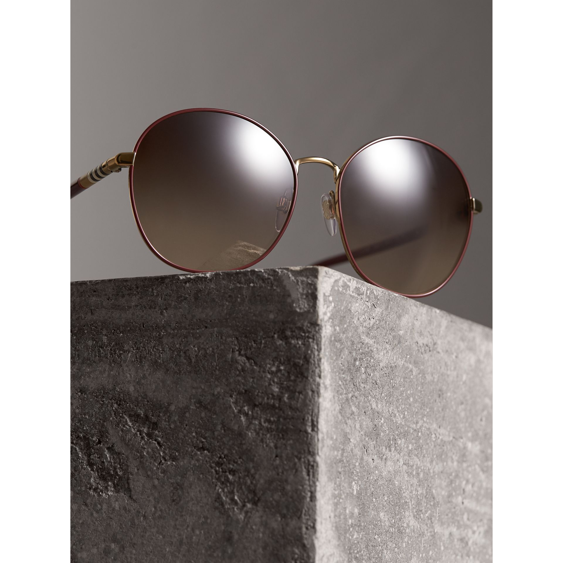 Check Detail Round Frame Sunglasses in Burgundy - Women | Burberry - gallery image 2