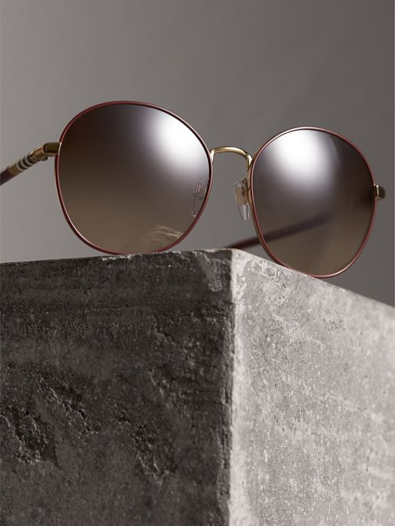 Check Detail Round Frame Sunglasses in Burgundy - Women | Burberry Hong Kong - cell image 2