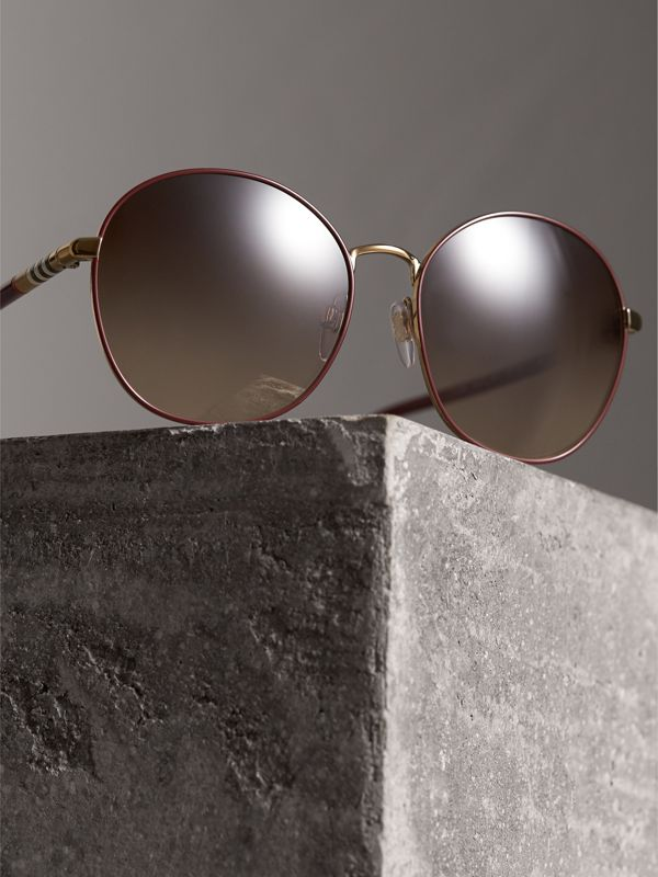 Check Detail Round Frame Sunglasses in Burgundy - Women | Burberry Canada - cell image 2