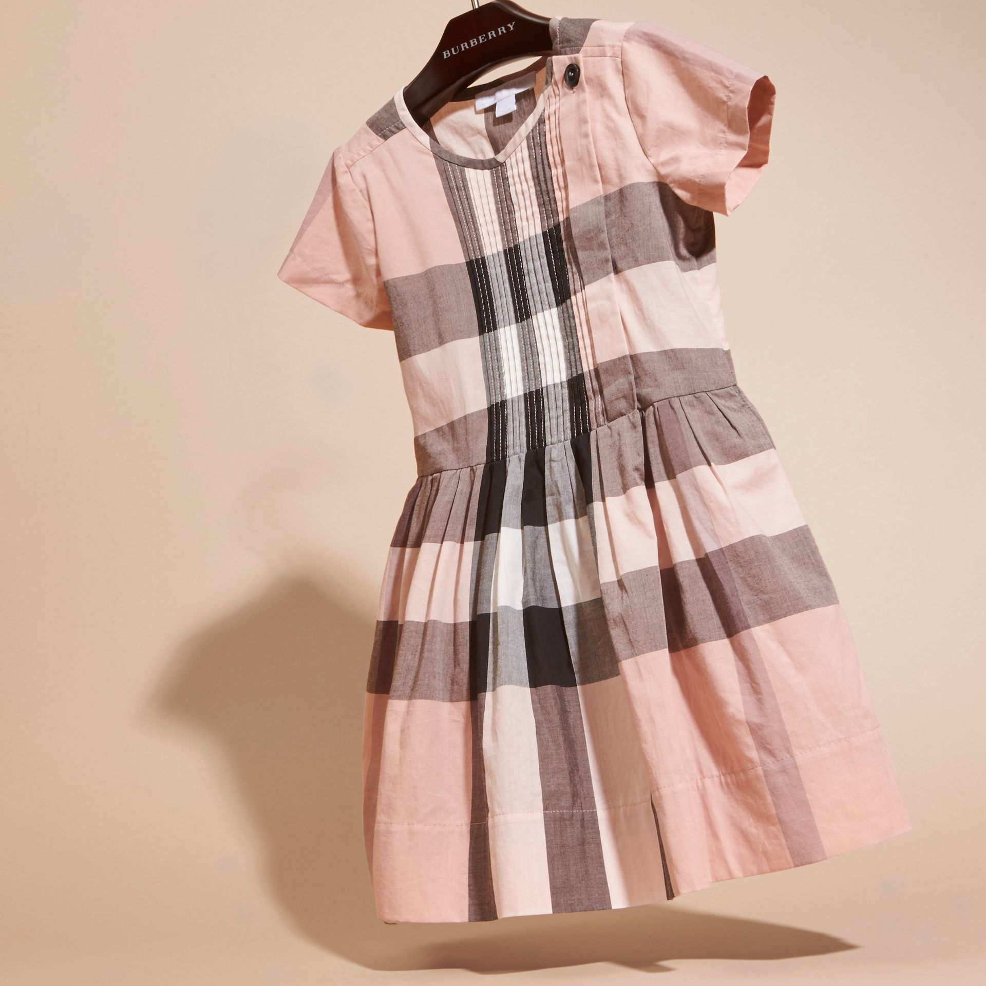 Antique pink Pleat Detail Check Cotton Dress - gallery image 3