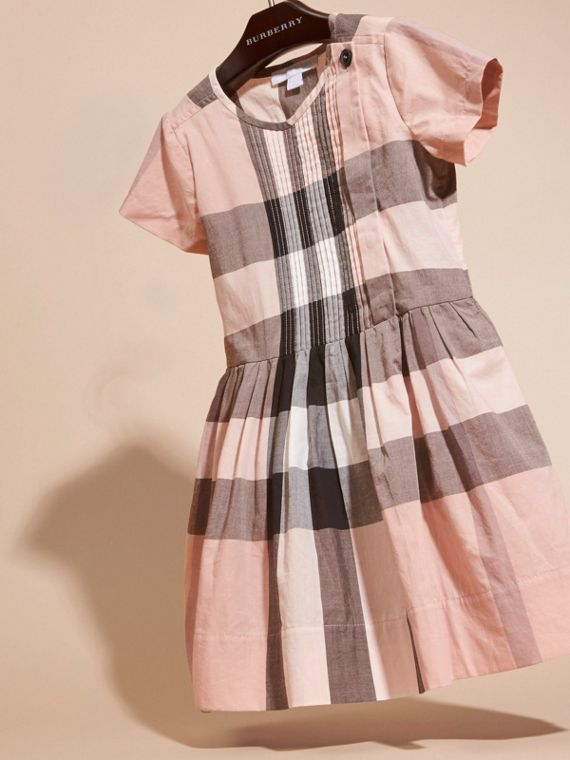 Antique pink Pleat Detail Check Cotton Dress - cell image 2