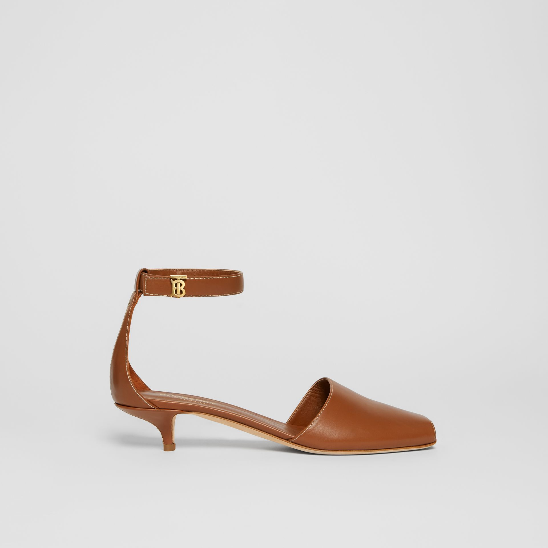 Monogram Motif Leather Kitten-heel Sandals in Tan - Women | Burberry - gallery image 5