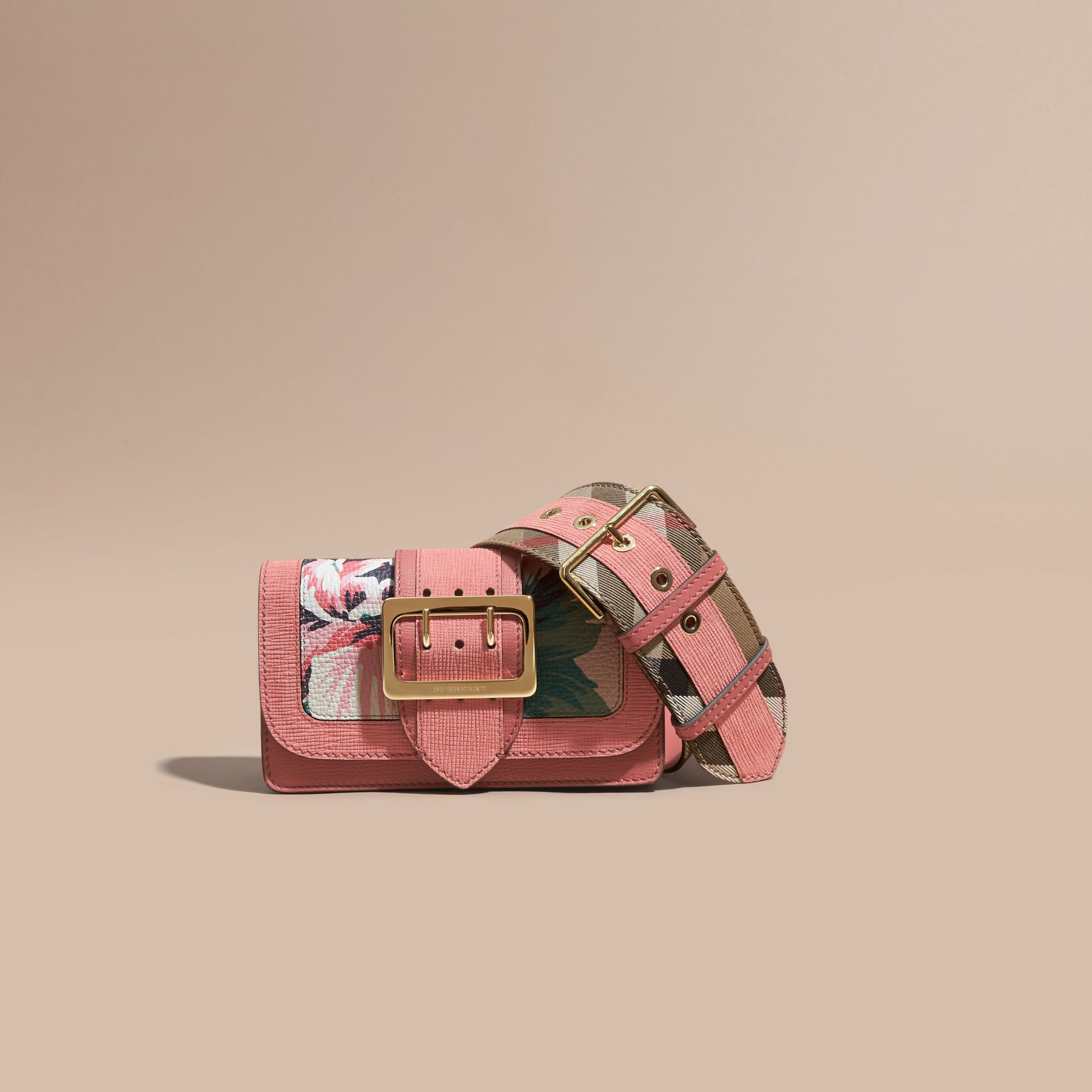 Copper pink /emerald The Small Buckle Bag in Peony Rose Print Leather Copper Pink /emerald - gallery image 9