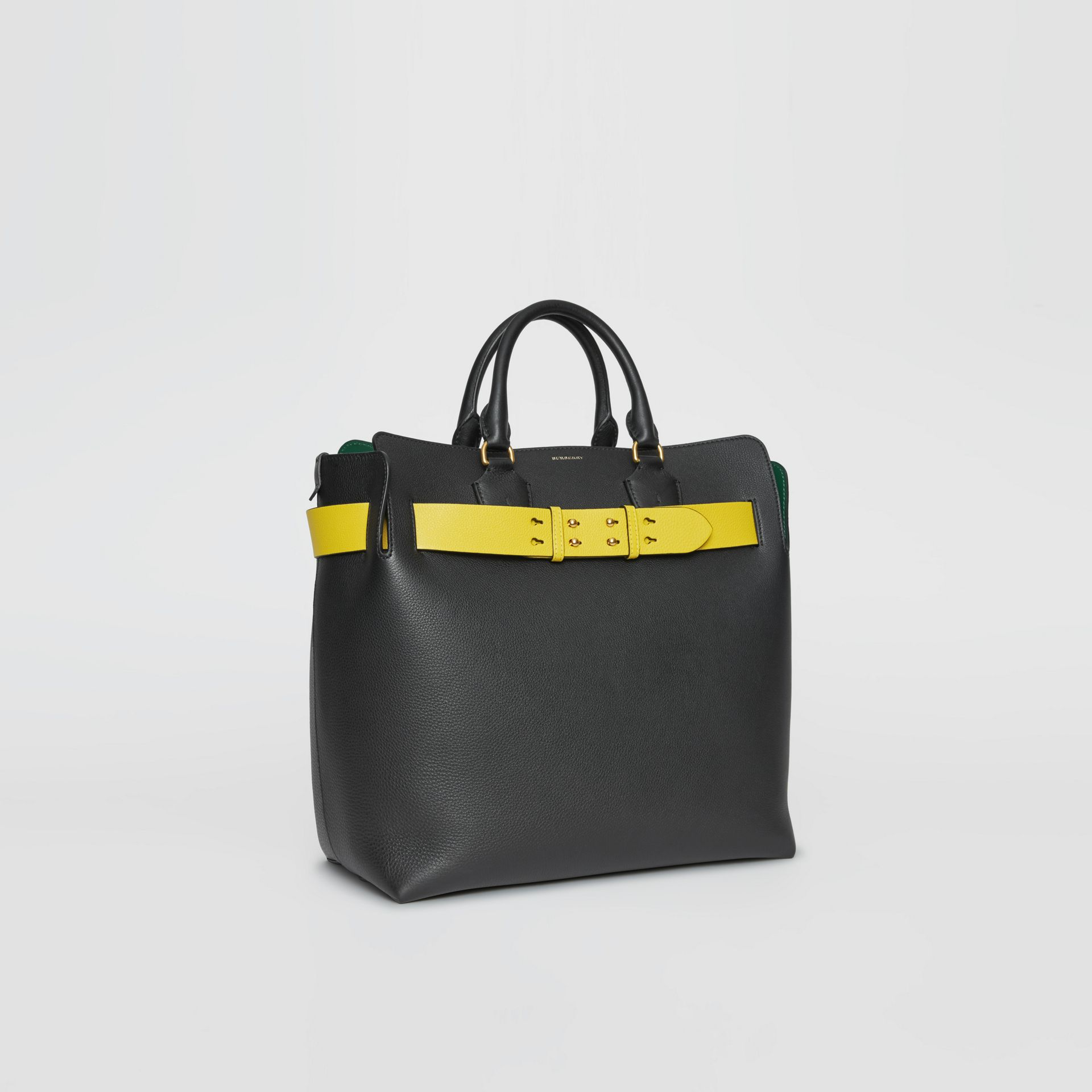 The Large Leather Belt Bag in Black/yellow | Burberry - gallery image 7