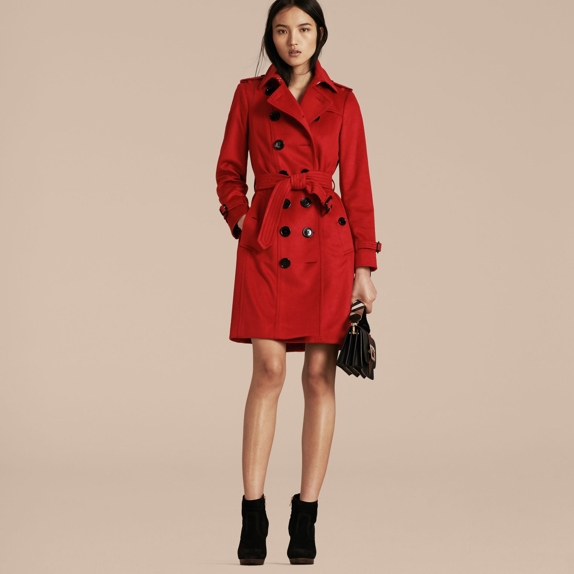Sandringham Fit Cashmere Trench Coat Parade Red - gallery image 6