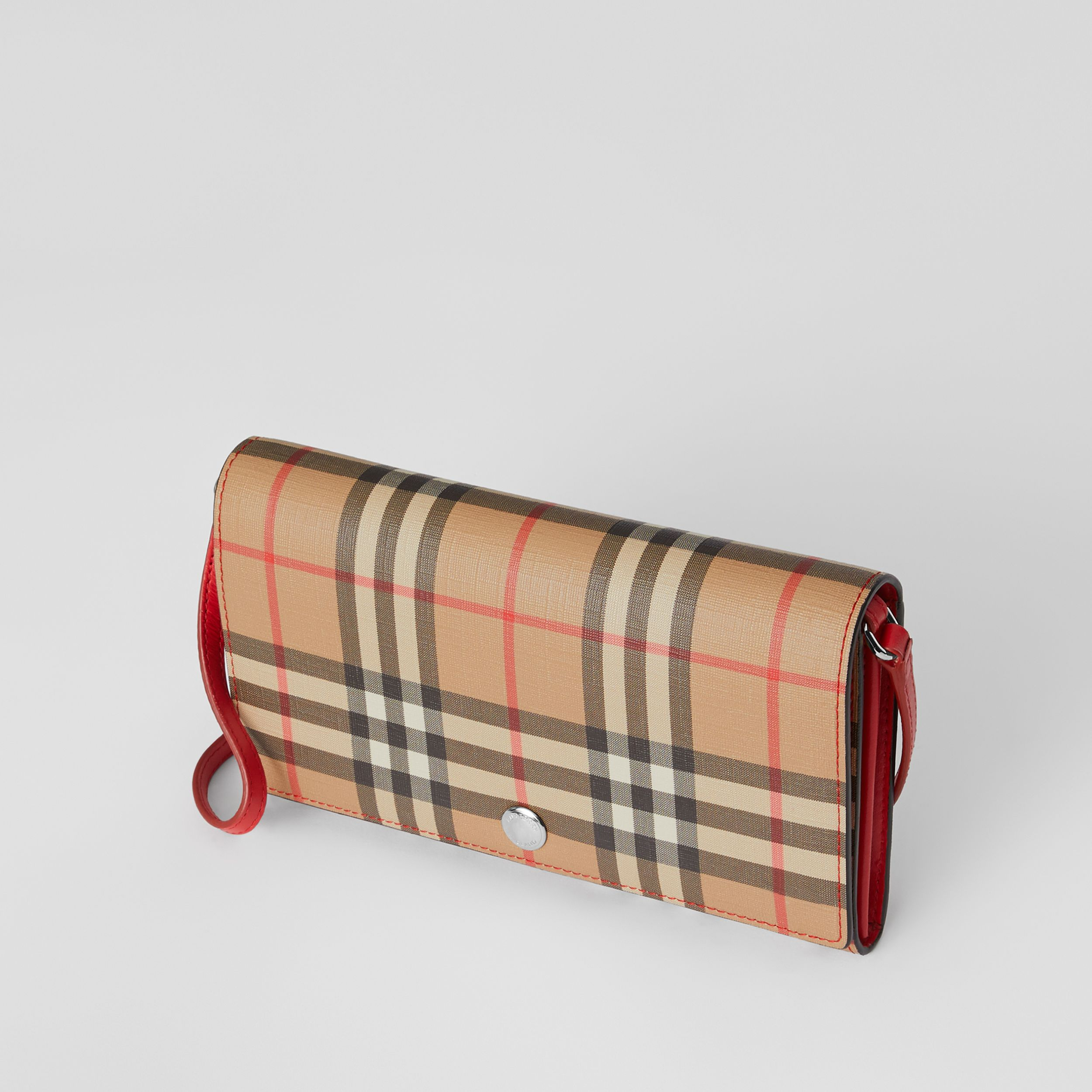 Vintage Check E-canvas Wallet with Detachable Strap in Bright Military Red - Women | Burberry - 4