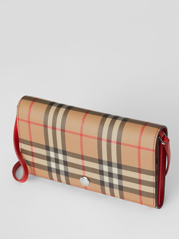 Vintage Check E-canvas Wallet with Detachable Strap in Bright Military Red - Women | Burberry Singapore - cell image 3