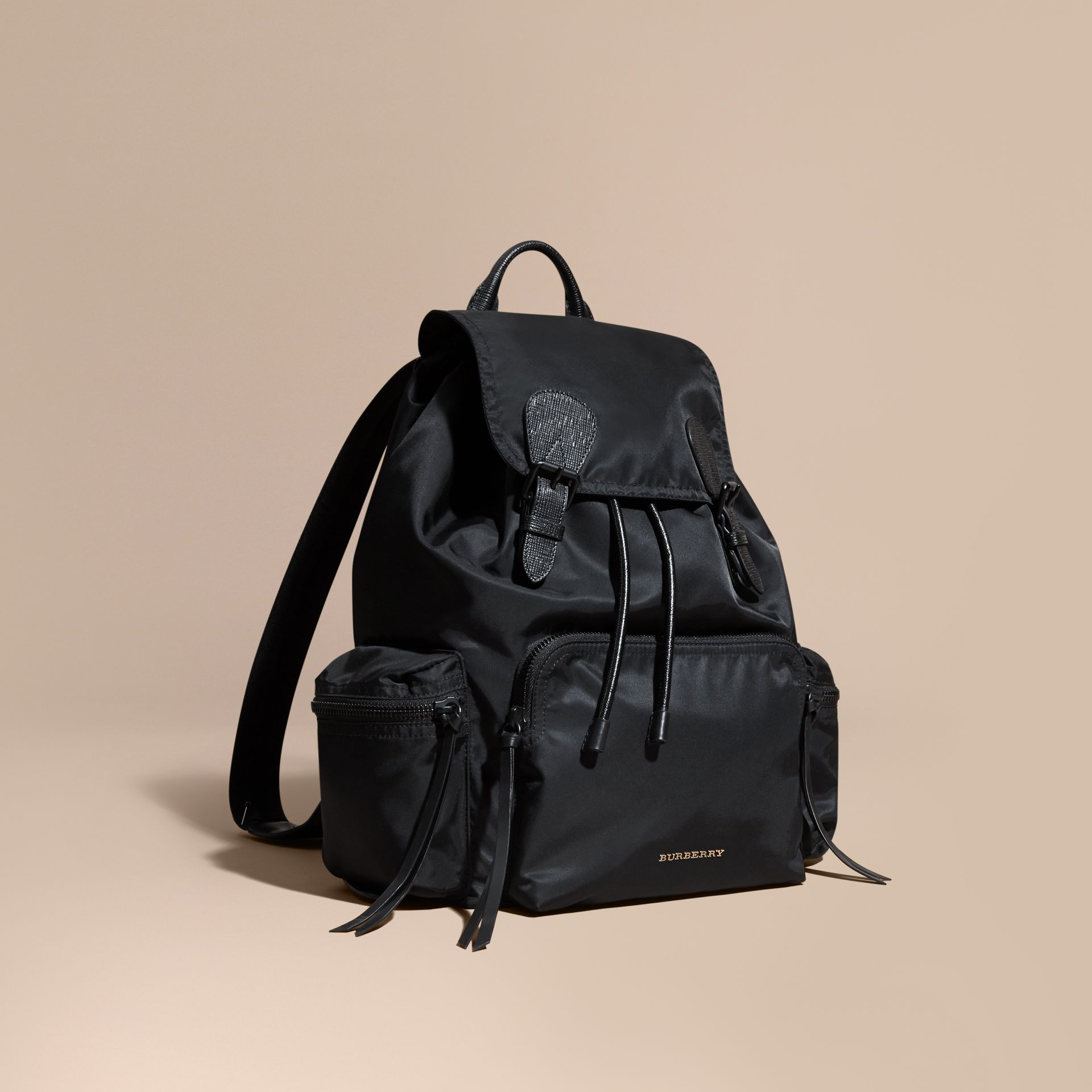 Black The Large Rucksack in Technical Nylon and Leather Black - gallery image 1