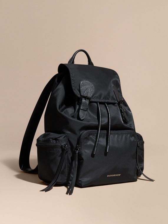 The Large Rucksack in Technical Nylon and Leather in Black | Burberry Singapore