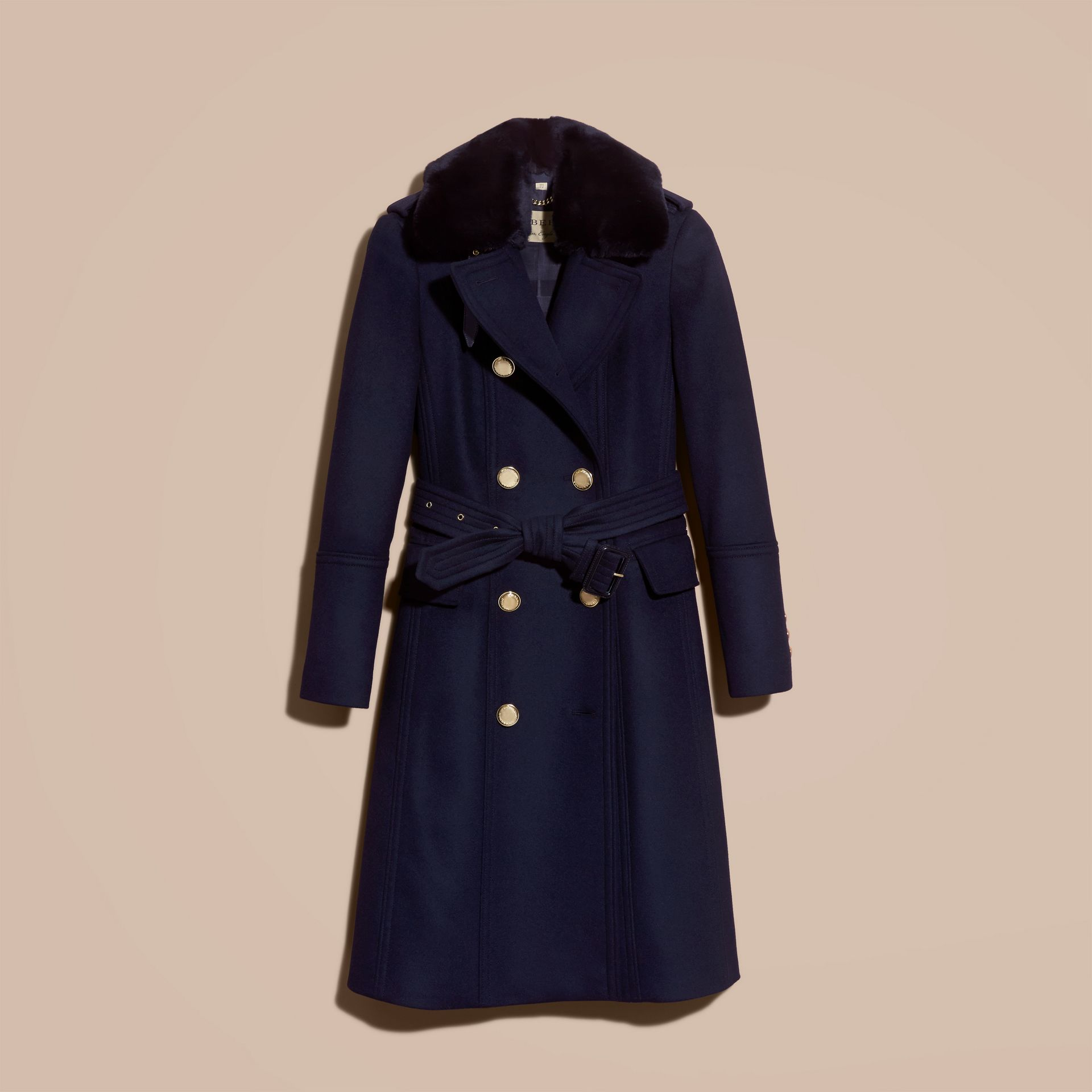 Navy Wool Cashmere Trench Coat with Detachable Fur Collar - gallery image 4