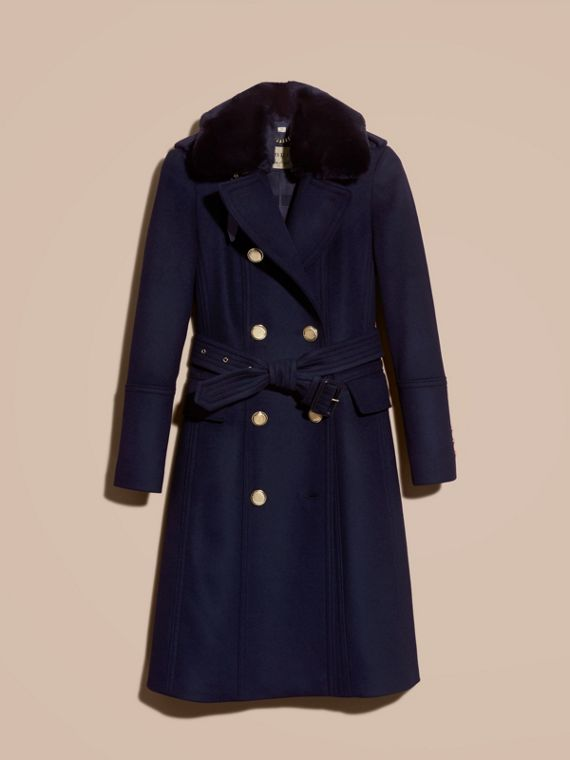 Navy Wool Cashmere Trench Coat with Detachable Fur Collar - cell image 3