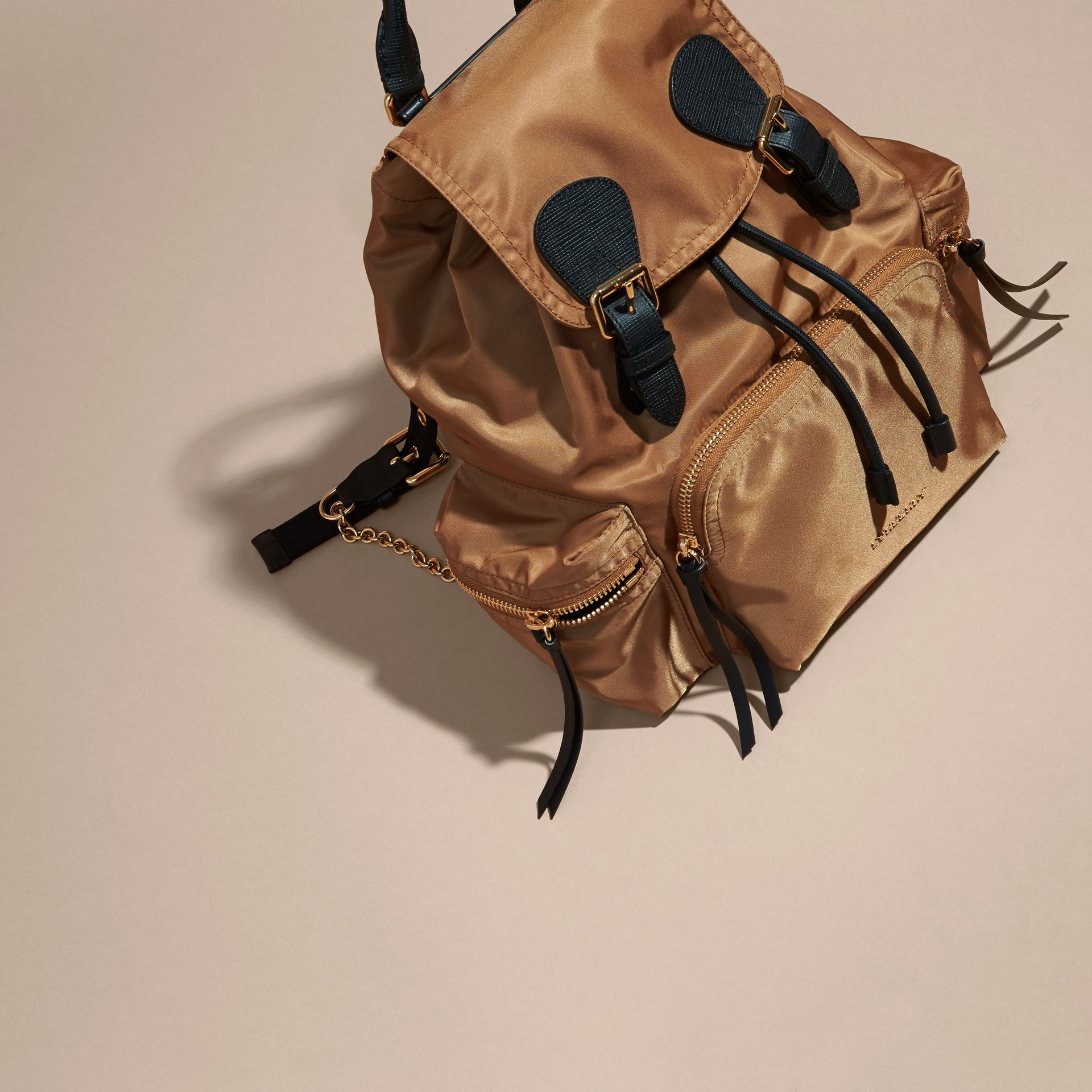 The Medium Rucksack in Technical Nylon and Leather Light Flax - gallery image 8