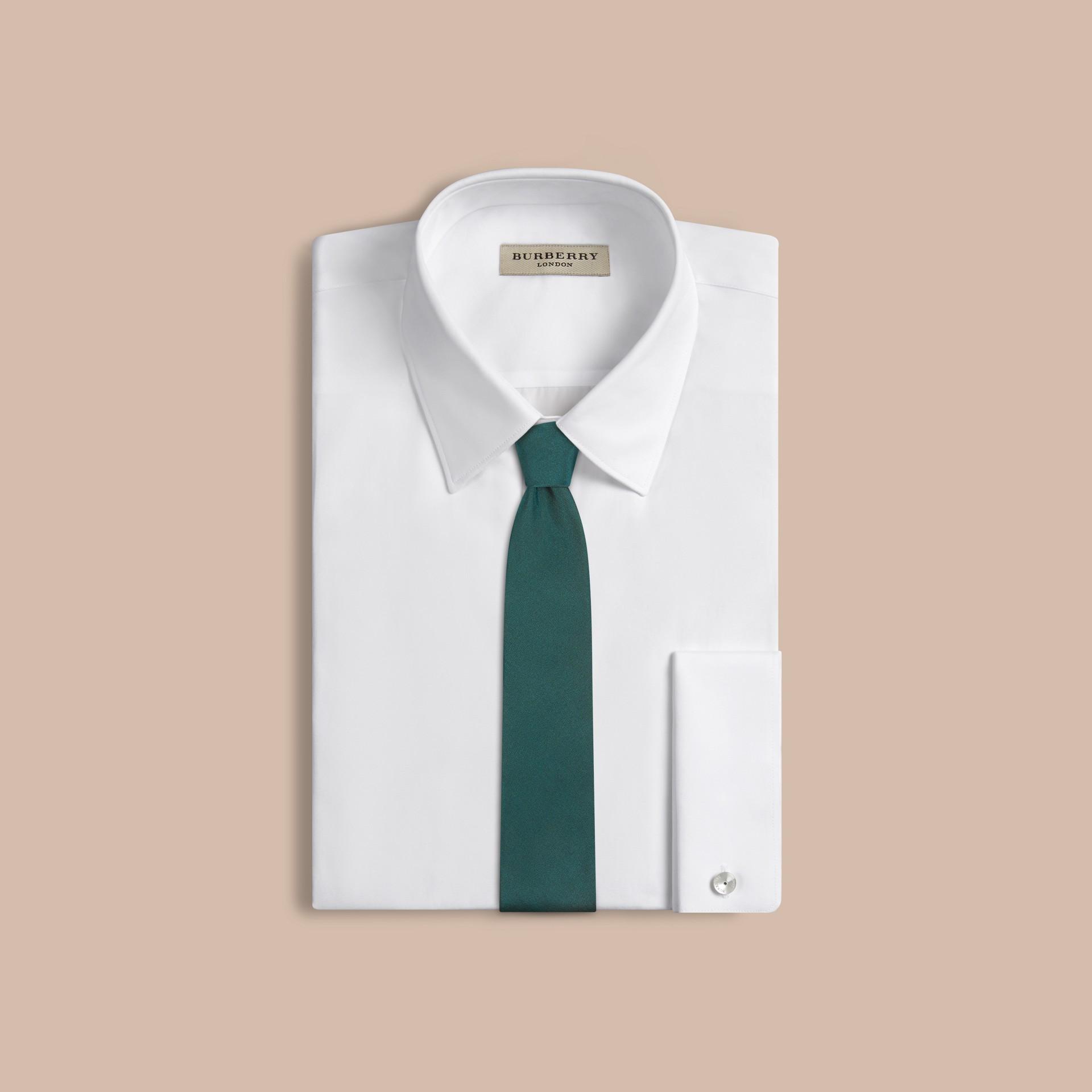 Deep viridian green Modern Cut Silk Tie - gallery image 2