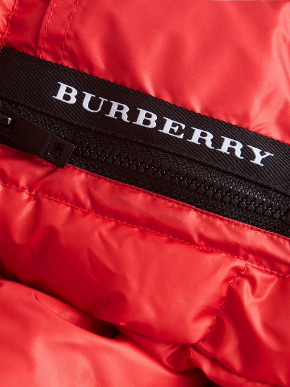 Detachable Hood Down-filled Puffer Coat in Bright Orange Red | Burberry - cell image 1