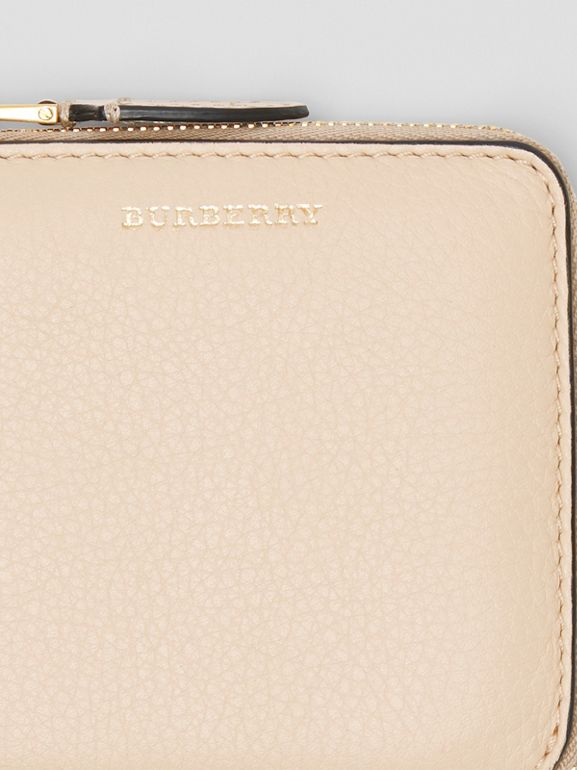 Grainy Leather Square Ziparound Wallet in Limestone - Women | Burberry Australia - cell image 1