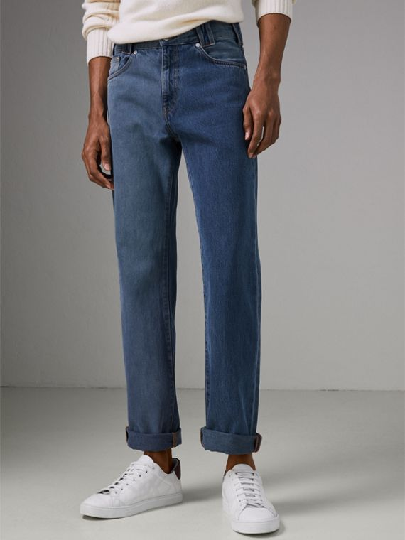 Straight Fit Two-tone Jeans in Indigo