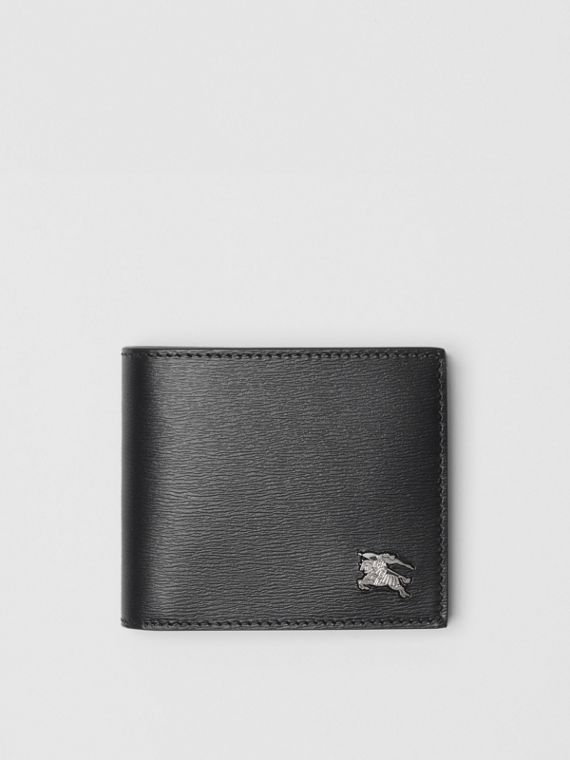 EKD London Leather Bifold Wallet with ID Card Case in Black