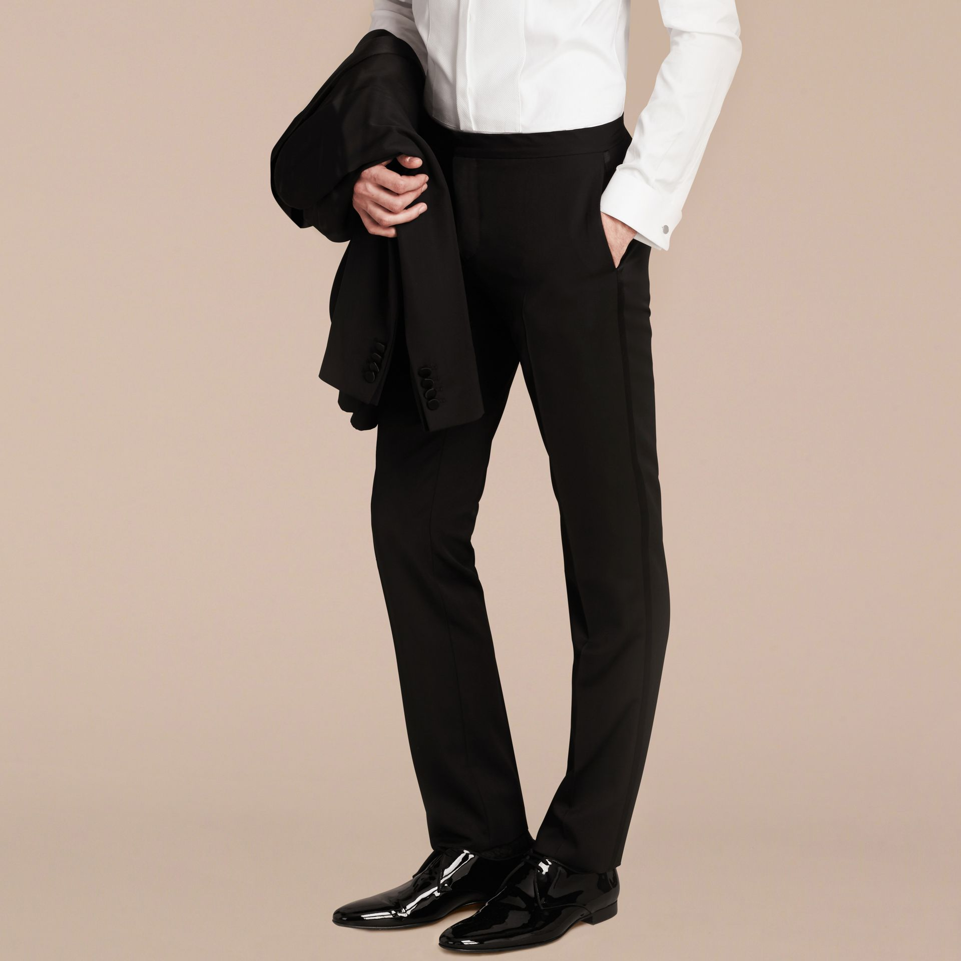 Black Virgin Wool Tuxedo Trousers Black - gallery image 6