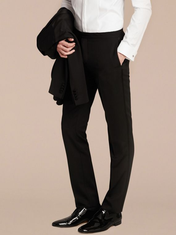 Virgin Wool Tuxedo Trousers Black