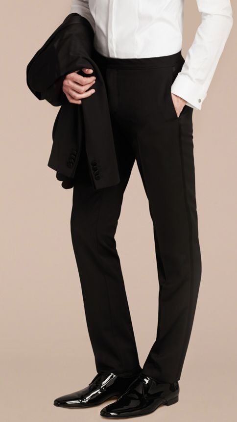 Black Virgin Wool Tuxedo Trousers Black - Image 6