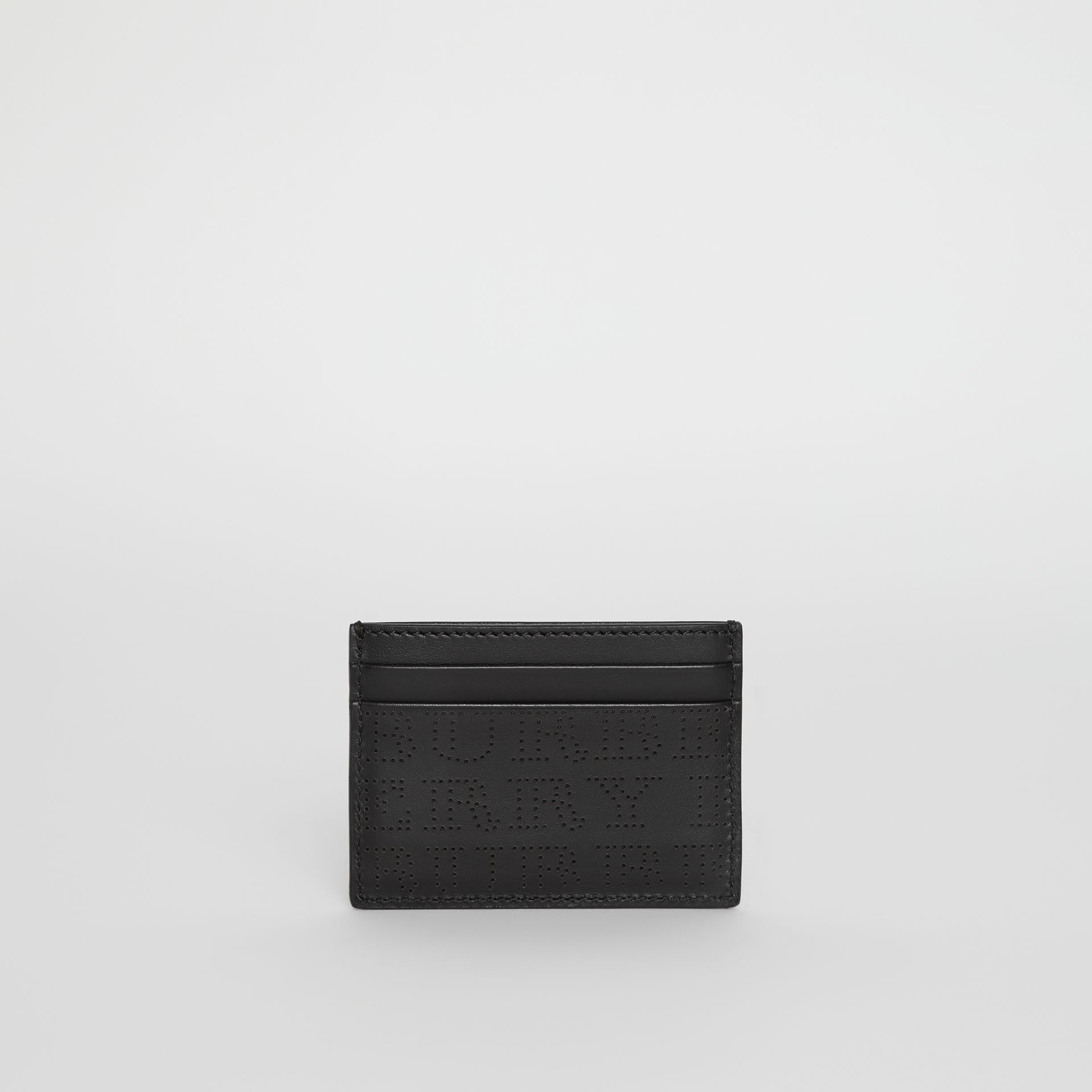 Perforated Logo Leather Card Case in Black - Men | Burberry - gallery image 5