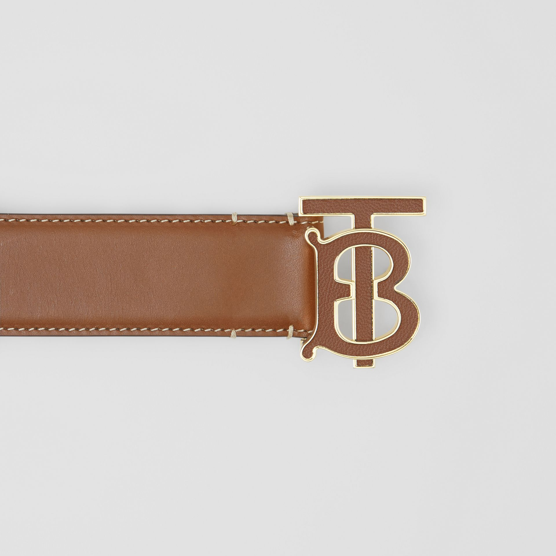 Monogram Motif Leather Belt in Tan - Women | Burberry Canada - gallery image 1