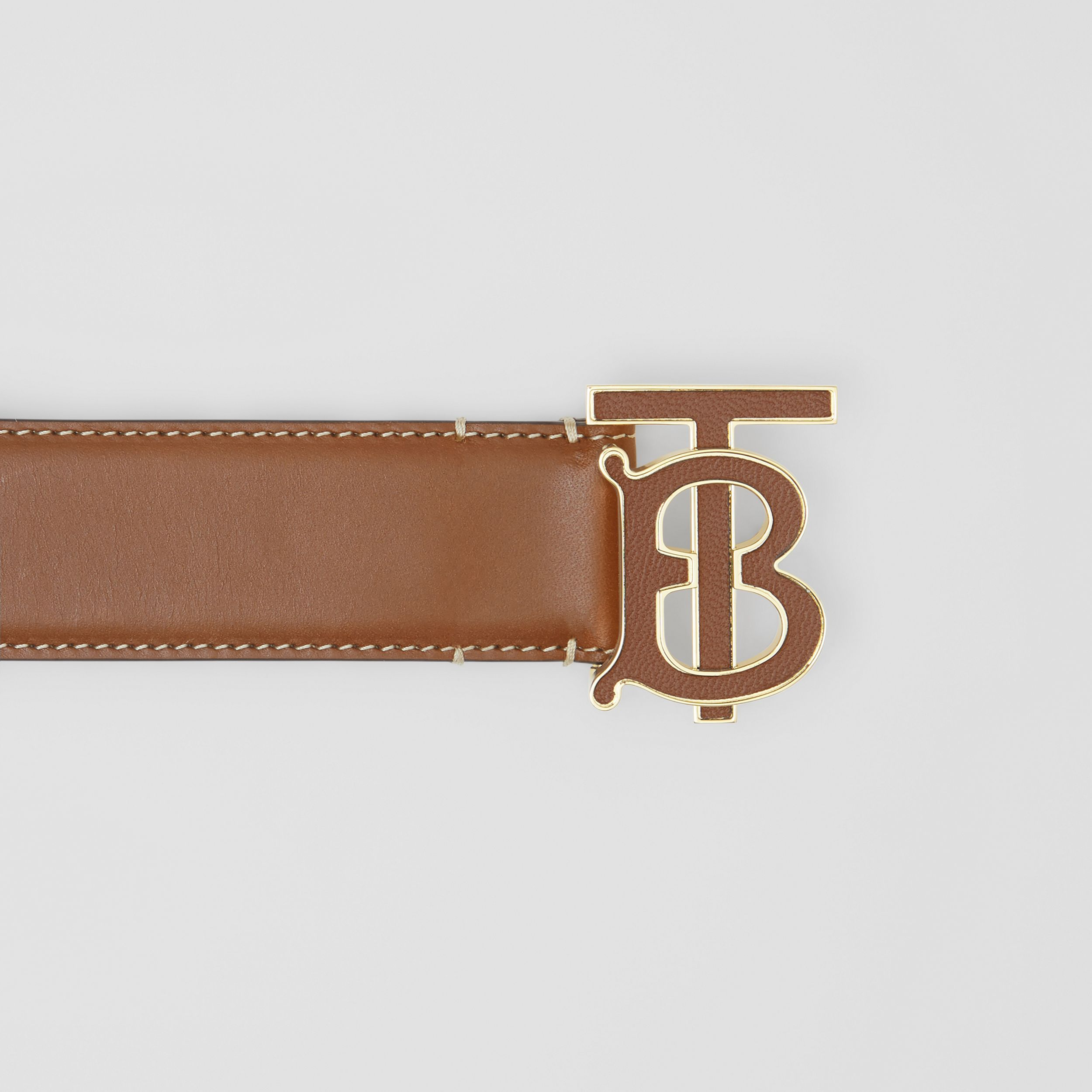 Monogram Motif Leather Belt in Tan | Burberry - 2