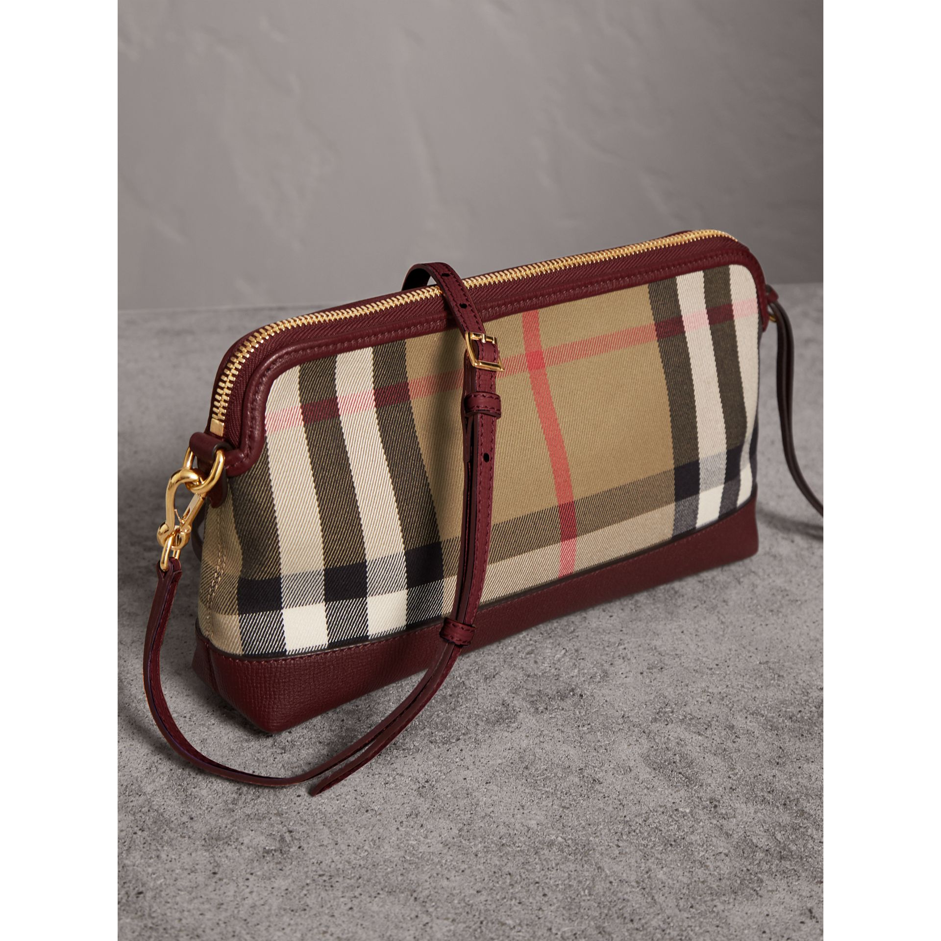 House Check and Leather Clutch Bag in Mahogany Red - Women | Burberry - gallery image 5