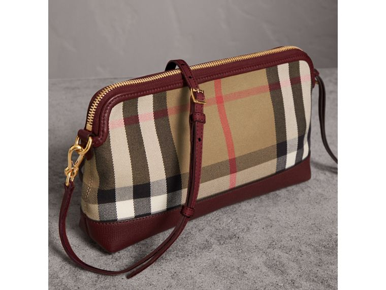 House Check and Leather Clutch Bag in Mahogany Red - Women | Burberry - cell image 4