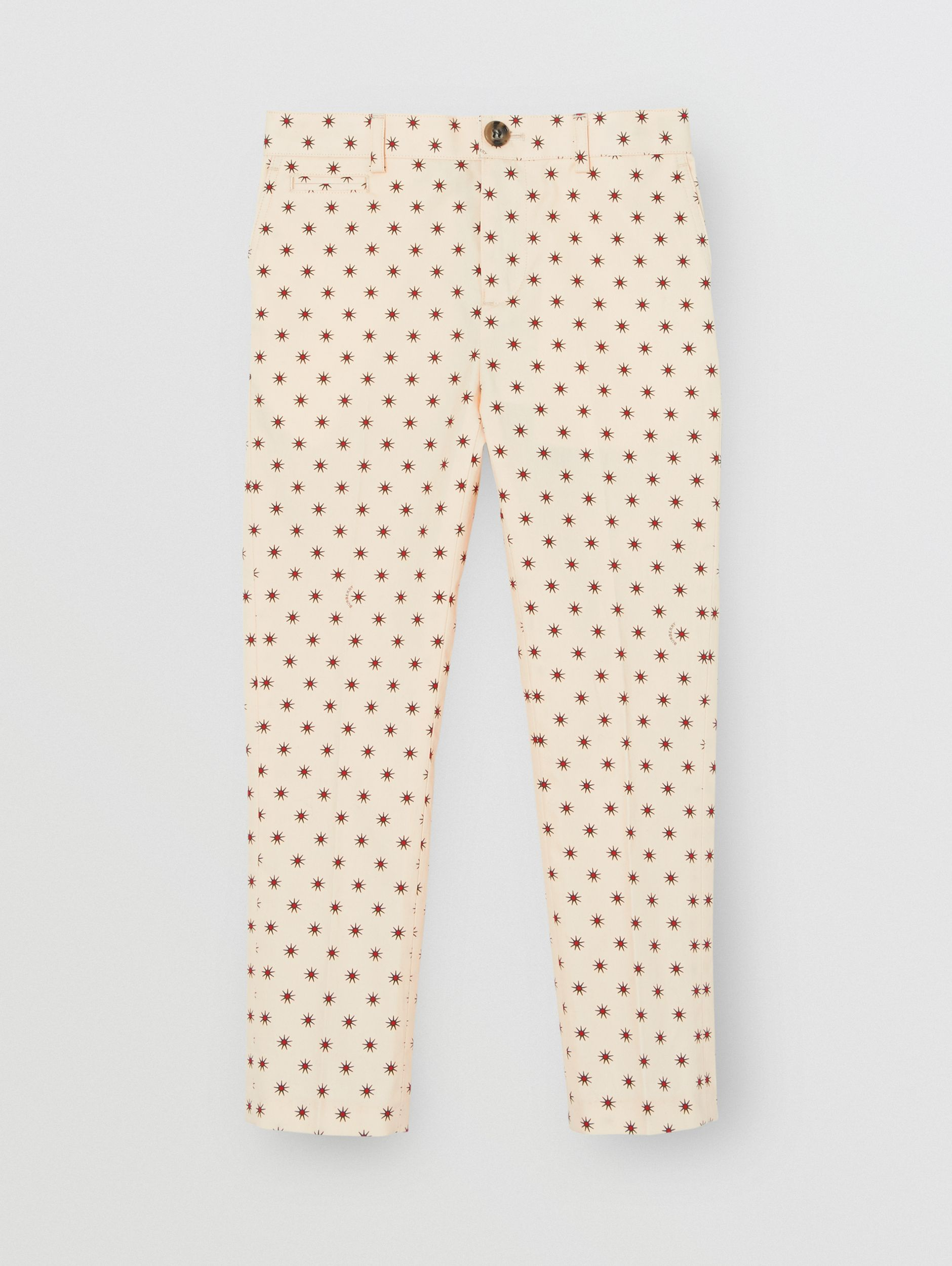 Star Print Cotton Tailored Trousers in Military Red - Children | Burberry United Kingdom - 1
