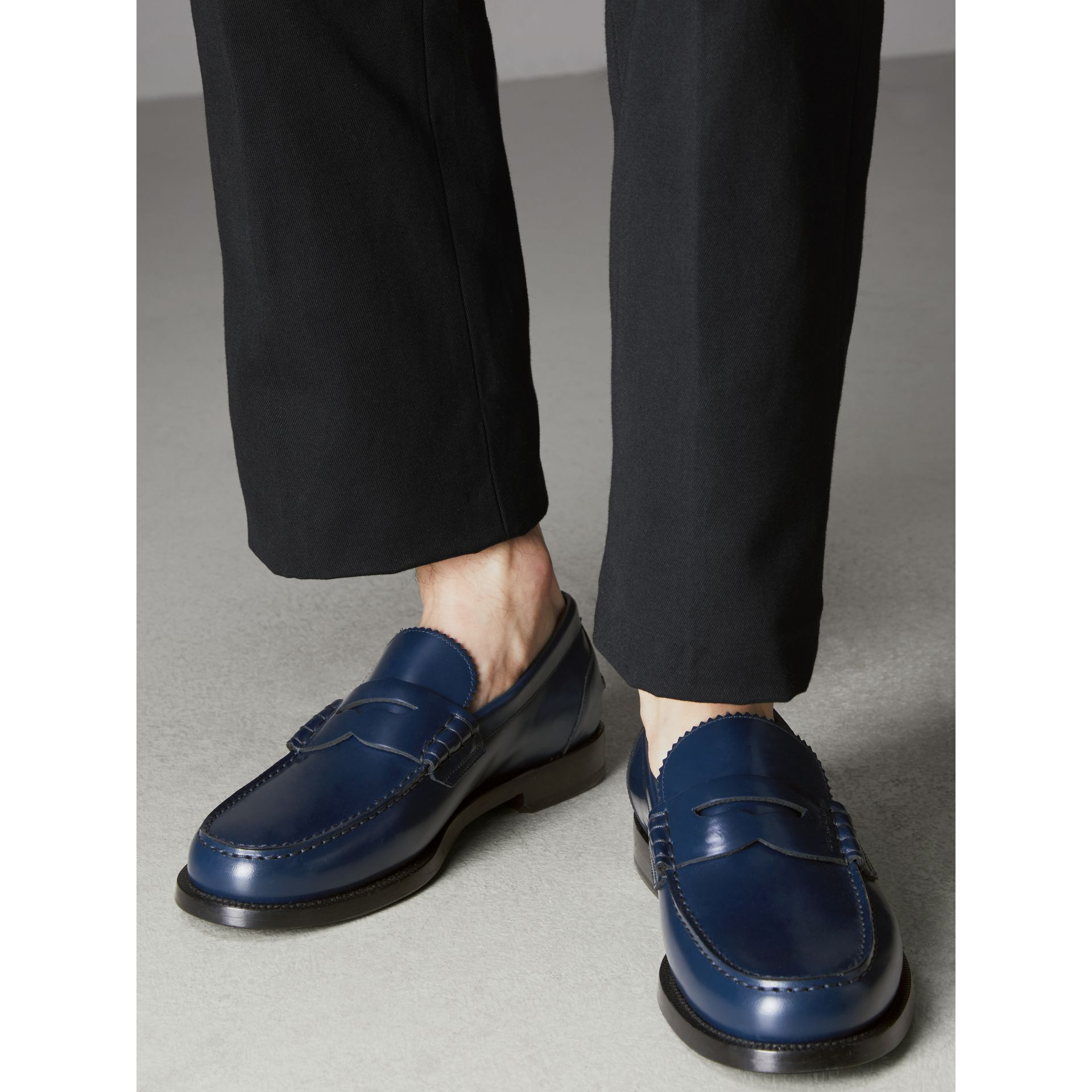 Leather Penny Loafers in Navy - Men | Burberry - gallery image 2
