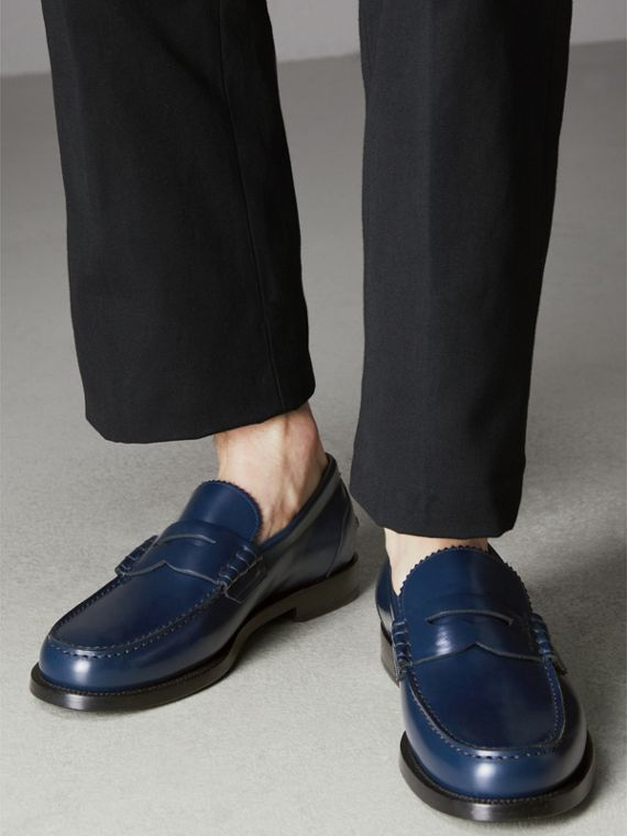 Leather Penny Loafers in Navy - Men | Burberry - cell image 2