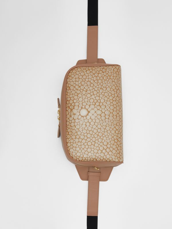 Fish-scale Print and Leather Cube Bum Bag in Light Sand - Women | Burberry Australia - cell image 2