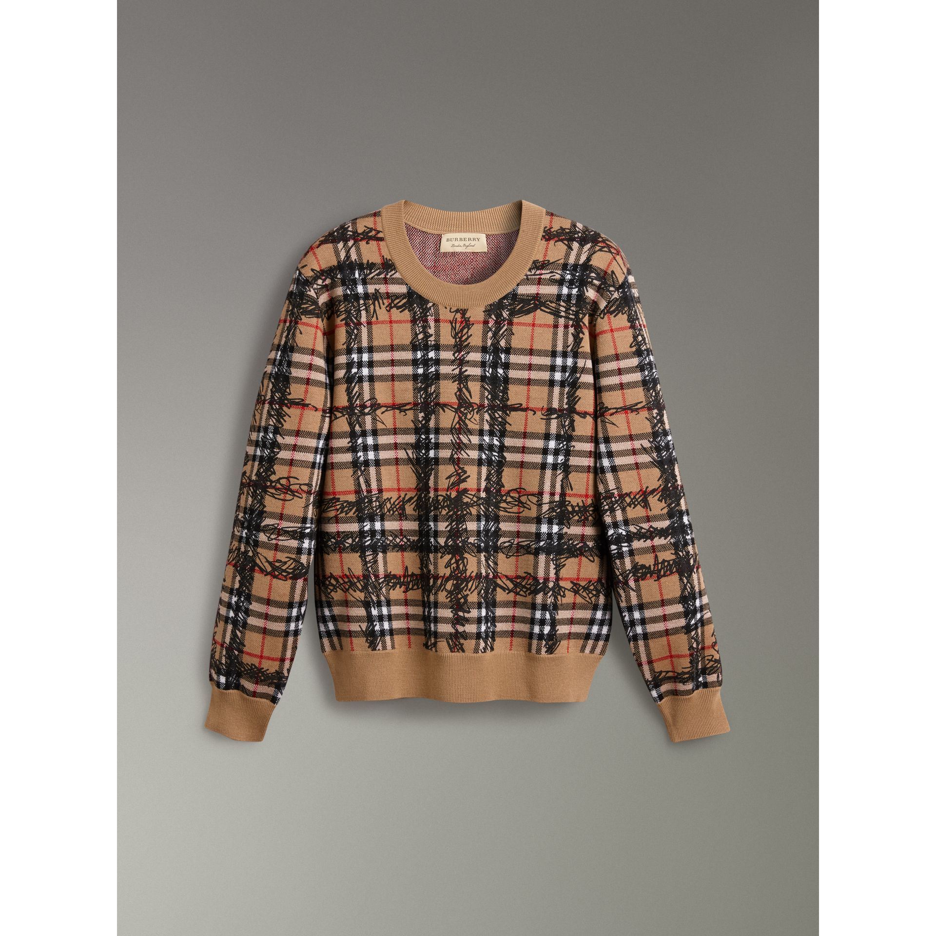 Scribble Check Merino Wool Sweater in Camel/black - Women | Burberry Singapore - gallery image 3