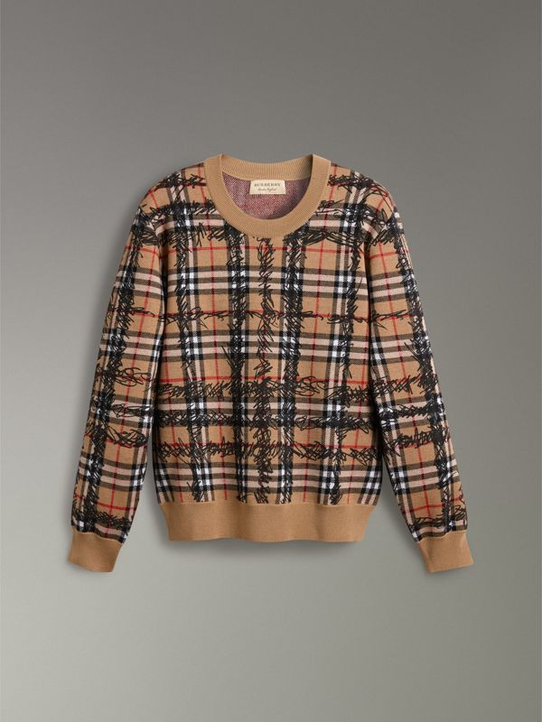 Scribble Check Merino Wool Sweater in Camel/black - Women | Burberry Hong Kong - cell image 3